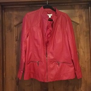 CJ Banks Red Faux Leather Jacket